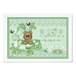 RSVP Card  Pea Pod Baby 9 Cm X 13 Cm Invitation Card