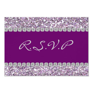 "RSVP CARD Purple AND Crystal BLING 3.5"" x 5"" RSVP 9 Cm X 13 Cm Invitation Card"
