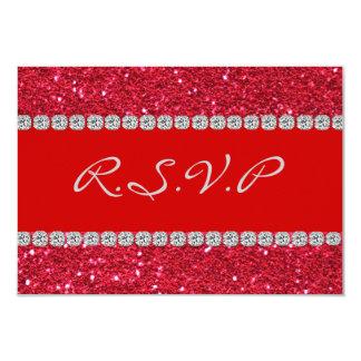 "RSVP CARD RED Crystal BLING 3.5"" x 5"" RSVP 9 Cm X 13 Cm Invitation Card"