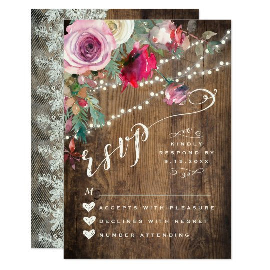 RSVP CARD | Rustic Floral String Lights Wedding