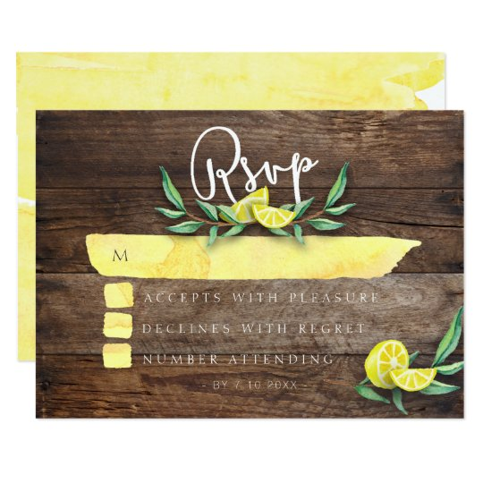 RSVP CARD | Rustic Wood Lemon Watercolor Wedding