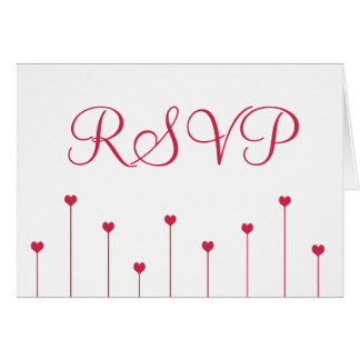 RSVP Card Simple, Modern Pink Love Hearts