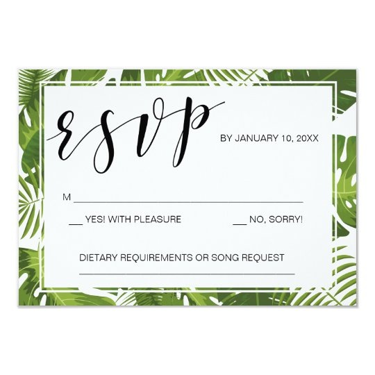 RSVP card template tropical elegant wedding