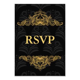 RSVP Card Vintage Damask Black Gold 9 Cm X 13 Cm Invitation Card