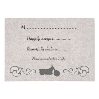 RSVP Card with Faux Embossed Motorcycle 9 Cm X 13 Cm Invitation Card