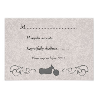 RSVP Card with Faux Embossed Motorcycle Announcement