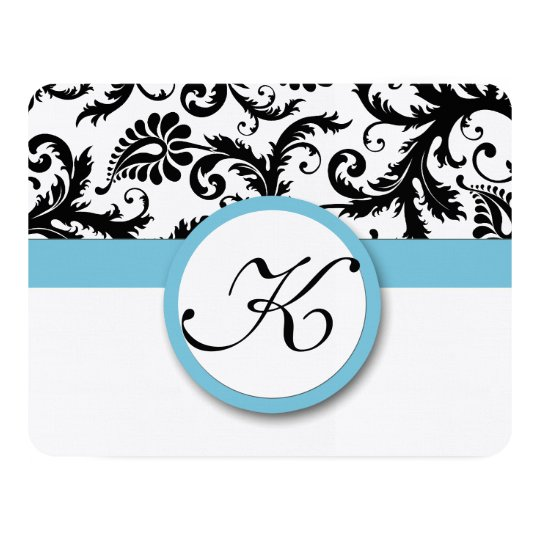 RSVP Cards-Black & White Damask Pool Blue Trim Card