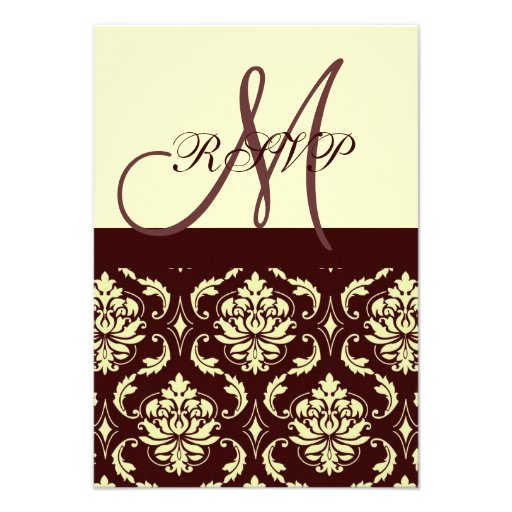 RSVP Cards Brown Ivory Damask For Square Invites