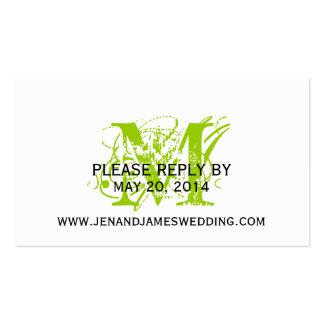 RSVP Cards for Wedding Website Green Chic Monogram Business Card