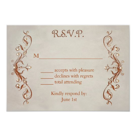 RSVP CARDS - ORANGE/BEIGE DESIGN
