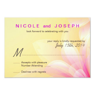 RSVP-Casual Yellow Pink Floral 9 Cm X 13 Cm Invitation Card