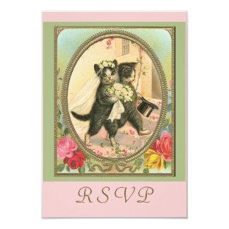 RSVP cat bride and groom 9 Cm X 13 Cm Invitation Card