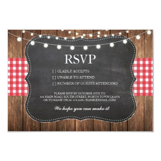 RSVP Chalk Wedding Wood Rustic Red Check Cards