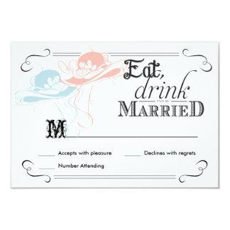 RSVP Chalkboard Vintage Lesbian Wedding Hats Card