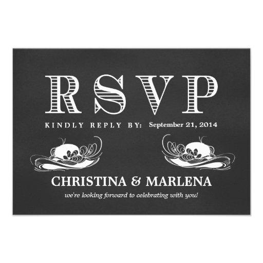 RSVP Chalkboard Vintage Lesbian Wedding Hats Invite