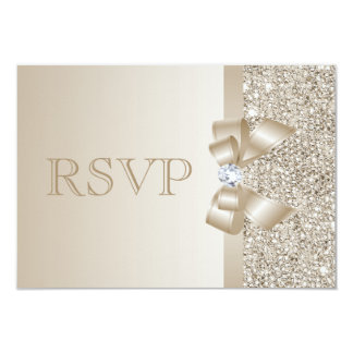 RSVP Champagne Sequins, Bow & Diamond RSVP Card