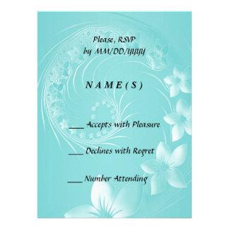 RSVP - Cyan Abstract Flowers Custom Invitation