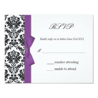 RSVP - Damask Purple Bow Wedding Response Card 11 Cm X 14 Cm Invitation Card