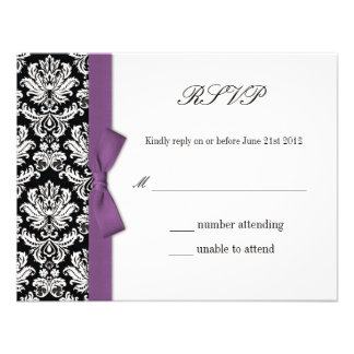 RSVP - Damask Purple Bow Wedding Response Card Personalized Announcements