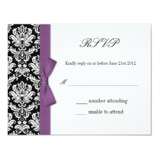 "RSVP - Damask Purple Bow Wedding Response Card 4.25"" X 5.5"" Invitation Card"