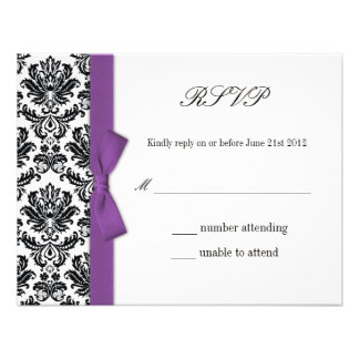 RSVP - Damask Purple Bow Wedding Response Card Personalized Invitations