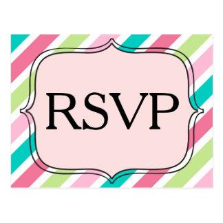 RSVP Diagonal Pink and Blue Stripes Postcard