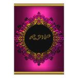 RSVP Elegant Birthday Party Dark Pink Black Gold