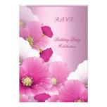 RSVP Elegant Birthday Party Pink White Poppies Custom Announcements