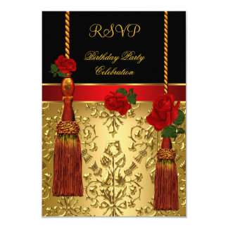 RSVP Elegant Damask Black Red Gold Birthday Party Announcement