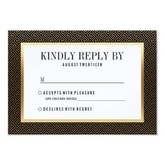 RSVP | Elegant Formal Golden Geometric on Black 9 Cm X 13 Cm Invitation Card