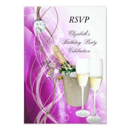 RSVP Elegant Pink Purple Silver Birthday Party Card