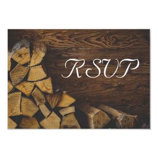 RSVP Elegant Rustic Fire Wood Lights Card