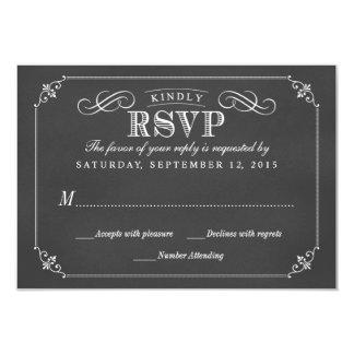 RSVP Elegant Rustic Vintage Chalkboard Wedding 9 Cm X 13 Cm Invitation Card