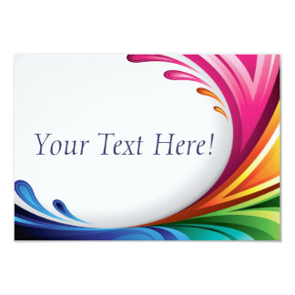 RSVP Elegant Swirling Rainbow Splash - 4 9 Cm X 13 Cm Invitation Card