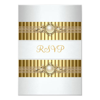 RSVP Elegant White Pearl Gold chain 30th Birthday Card