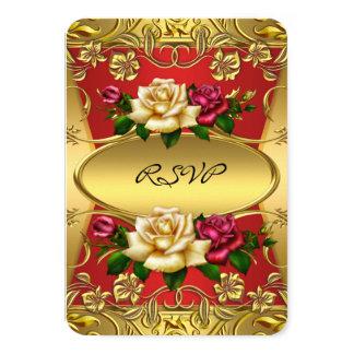 "RSVP Elite Red Cream Roses Ornate Gold Birthday 3.5"" X 5"" Invitation Card"