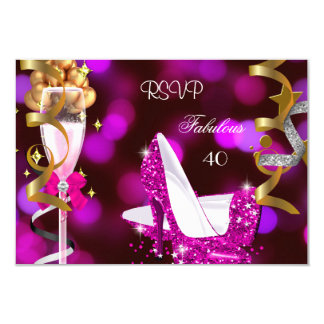 RSVP Fabulous 40 Hot Pink Gold Bubbles 9 Cm X 13 Cm Invitation Card