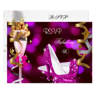 RSVP Fabulous 40 Hot Pink Gold Bubbles Card