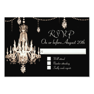RSVP FAUX French Crystal Chandelier Pearl Shower 9 Cm X 13 Cm Invitation Card