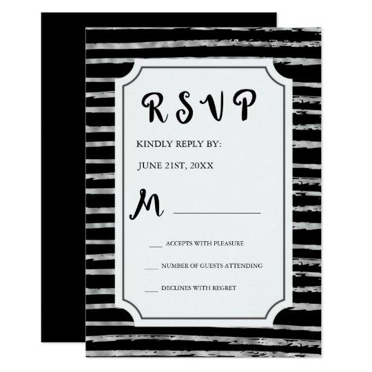 RSVP Faux Silver Foil and Black Wedding Invitation