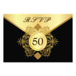 RSVP Formal Gold Black 50th Birthday Anniversary Personalised Invitations