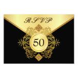 RSVP Formal Gold Black 50th Birthday Anniversary Personalised Invitations