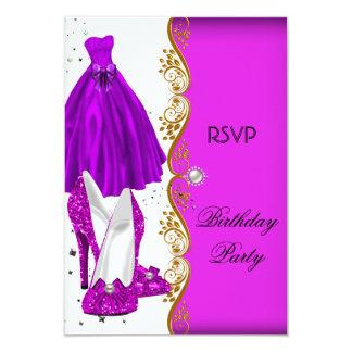 RSVP Glitter Pink Purple Shoes Dress Gold 9 Cm X 13 Cm Invitation Card