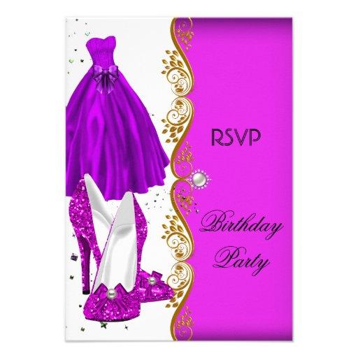 RSVP Glitter Pink Purple Shoes Dress Gold Custom Invitations