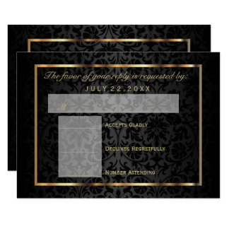 RSVP  Gold and Black Damask Card