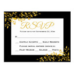 RSVP Gold And Black Floral Swirl Response Card Postcard