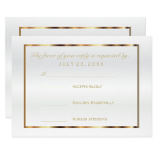 RSVP  Gold and White Satin Card