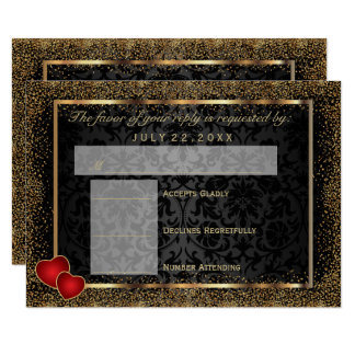 RSVP  Gold Confetti and Black Damask Card