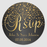 RSVP   Gold Dots and Black   Personalise Round Sticker