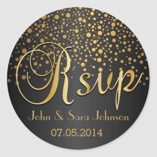 RSVP | Gold Dots and Black | Personalize Round Sticker